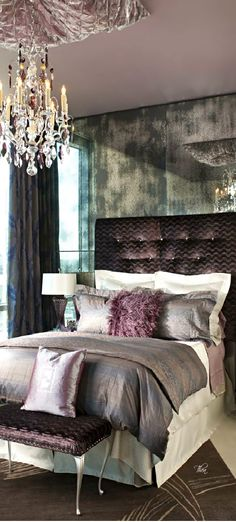 Absolutely gorgeous. Vibrant Purple ● Bedroom via @theatoria. #patternplay #bedrooms