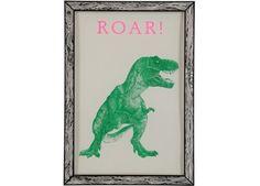 groovy dino poster 'Roar! (A3) THE prints by Marke Newton™ | kinderen-shop Kleine Zebra