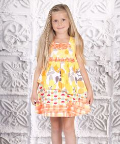 Look what I found on #zulily! Yellow Floral Tiered Dress - Toddler & Girls by Jelly the Pug #zulilyfinds