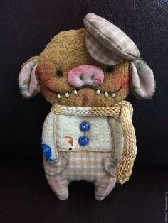 Купить Зубастые брошки :) - брошь ручной работы, брошь, свинка, поросенок, текстильная брошь