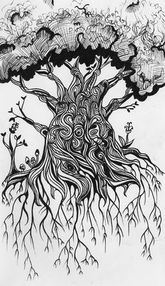 Tree of Love Nature Inspired Art Work Charcoal Abstract Tree Finger Drawing Hand Drawn Tree Charcoal Drawing Eclectic Artwork