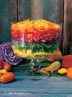 rainbow garden salad, by rosalind creasy Trifle Bowl Recipes, Trifle Dish, Trifle Recipe, Rainbow Salad, Rainbow Food, Rainbow Pasta, Rainbow Jello, Rainbow Brite, Rainbow Garden