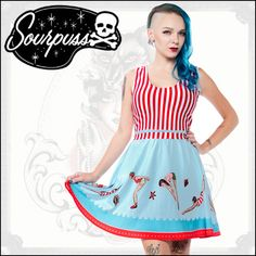 SOURPUSS CLOTHING (サーパスクロージング) SOURPUSS DAY AT THE SHORE DRESS /QOOZA
