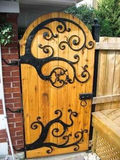 """o) Garden gate door. Check out the """"hobbit hole"""" door for peeking out. One day I'm going to have a house and this will be the gate to my garden Garden Gates, Garden Art, Garden Design, Home And Garden, Garden Doors, Garden Entrance, Fairy Doors, Fence Design, Patio Doors"""