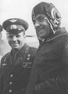 FALLEN HEROS VALADIMIR KOMAROV--SOYUZ 1 SOVIET COSMONAUT VLADIMIR KOMAROV (RIGHT) IS SEEN HERE WITH YURI GARGARIN. KOMAROV PILOTED THE SOYUZ 1 MISSION ON 4/24/67. KOMAROV PERISHED UPON IMPACT WHEN THE PARACHUTES THAT WERE SUPPOSED TO SLOW HIS CAPSULE'S RETURN TO EARTH FAILED. IN 2011--A CONTROVERSIAL BOOK ATTEMPTED TO DESCRIBE KOMAROV'S DEATH BUT WAS CHALLENGED BY EXPERTS.