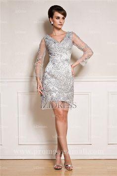Sheath/Column V-neck Knee-length Lace Cocktial Dress [ IZIED9528]
