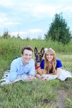 Family pictures with German shepherd dog
