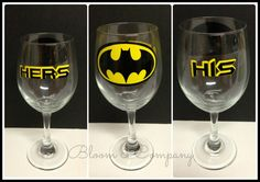 Hey, I found this really awesome Etsy listing at https://www.etsy.com/listing/165199547/pair-of-his-and-hers-batman-wine-glasses