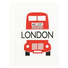 Blank letter press card featuring red London bus. #cards #greetingcards