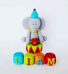 Circus Cake Topper - Fondant elephant, name blocks & stand for smash cake