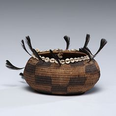 Pomo gift basket, American Indian basketry | finely woven with shell disks framing, ca 1900