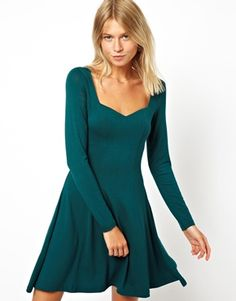 Image 1 of ASOS Skater Dress With Sweetheart Neck And Long Sleeve