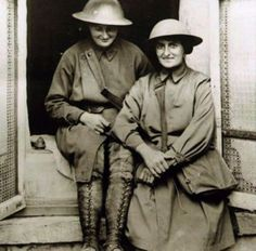 Photograph of British nurses, Elsie Knocker and Mairi Chisolm, on the Western Front c. 1917.