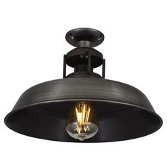 Vintage Industrial Barn Slotted Flush Mount Ceiling Light - Pewter