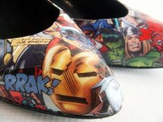 Comic Book Heels Bring Couture to Superheroes #shoes #footwear trendhunter.com