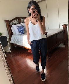 Linen Navy Joggers with cozy white satin cami, embellished velvet slip ons / slides and the best Stella Dot Jewels!! Seriously like wearing pjs all day 💃 😍 Shop the look at thestyleofshah.com/shop-my-insta 👌🏽 Satin Cami, Stella Dot, White Satin, Long Weekend, Pjs, Memorial Day, Joggers, Hipster, Shop My
