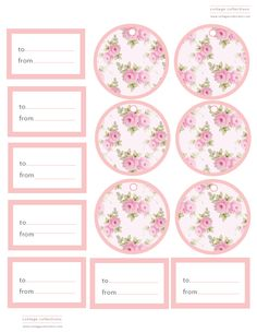 free pretty little rose tags and circles