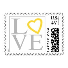 Love Gray Yellow Heart Wedding RSVP Invitation Stamp