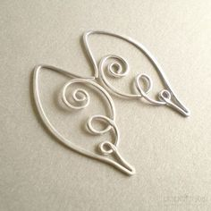 Angel Wing Earrings Argentium Silver Artisan Handmade Jewelry - 18 ga