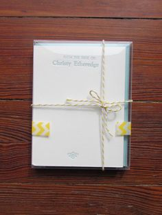 """Personalized Letterpress Stationery - Set """"From the desk of:"""" Packaging with bakers twine and washi tape"""