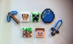 Minecraft inspired magnets glow in the dark perler beads by KrausHausKrafts Minecraft Perler, Minecraft Party, Minecraft Ideas, Melty Bead Patterns, Beading Patterns, Perler Beads, Etsy Store, Magnets, Projects To Try