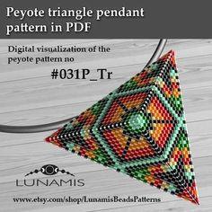 Peyote triangle patterns, pattern for triangle pendant, peyote patterns, beading, peyote stitch, digital file, pdf pattern #031P_Tr