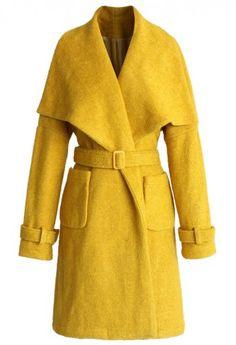 Catch Up with Mustard Belted Coat Manteau Veste, Manteaux, Haute Couture,  Mode Unique cd8b5e73811