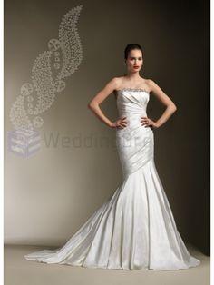 Silk Dupion Pleated Mermaid Strapless Neckline Wedding Dress