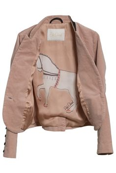 Vendela Blazer in Cotton Velvet with Leather Trim. It also has the unique full size horse print lining. Pale Cloud, Luxury Fashion for girls age 4 to 14