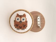 Owl Brooch Cross Stitched Owl Backed With A Wooden Base, handmade by GorgeousCraftsUK Owl design courtesy of ⓒ Lucykate Crafts