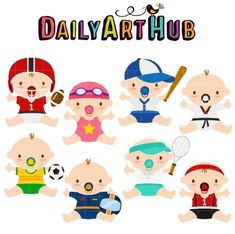 Items similar to Sports Babies Digital Clip Art for Scrapbooking Card Making Cupcake Toppers Paper Crafts on Etsy Basketball Baby, Football Baby, Kanban Crafts, Racing Baby, Baby Shower Pin, Sports Baby, Kids Sports, Sand Crafts, Paper Crafts