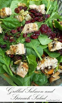 Quick and easy grilled salmon and spinach lunch or dinner salad recipe. Great for those summer days when it is too hot to cook! #recipe #recipes #grilled #salmon #spinach #salad #dinnerideas #lunchideas