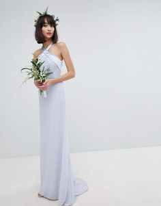 66c4cda10766 Tfnc Bow Back Pleated Maxi Bridesmaid Dress