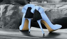 Baby blue bow and tassel heels