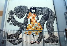 'The Guardian' Mural created by Street Artists Bumblebee and Zio Ziegler in Culver City, California Graffiti Art, Mr Brainwash, Best Street Art, Amazing Street Art, Banksy, Symbolic Art, Urbane Kunst, Young Art, Political Art
