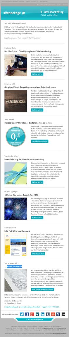 In der Dezemberausgabe des sitepackage:// Newsletters gibt es Tipps zur Incentivierung im E-Mail-Marketing. Außerdem zeigen wir, wie man den E-Mail-Adressverteiler für das Suchmaschinenmarketing nutzen kann.