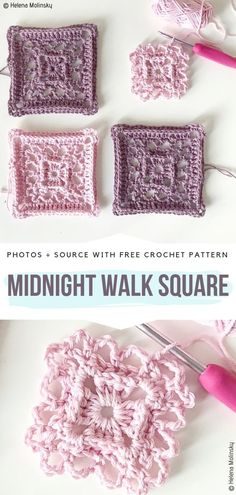 Lace Motif Squares Free Crochet Patterns Midnight Walk Square kostenlose Häkelanleitung Crochet Squares and Blocks (Visited 23 times, 1 visits today) Crochet Motif Patterns, Granny Square Crochet Pattern, Crochet Blocks, Crochet Squares, Crochet Designs, Crochet Stitches, Knitting Patterns, Free Crochet Square, Blanket Patterns