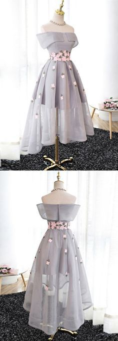 Elegant A-Line Off-Shoulder High-Low Gray Organza Prom/Bridesmaid Dress