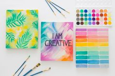 Personalize your own gorgeous notebooks with watercolor paint.