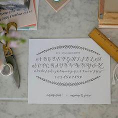 modern calligraphy alphabet print, design roots