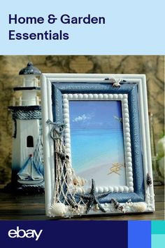 AIBEI-Mediterranean Style Wood Photo Frame Creative Handmade Blue White Picture Frame Home Decoration Gifts Crafts Seashell Picture Frames, Picture Frame Crafts, Nautical Picture Frames, Decorated Picture Frames, Nautical Pictures, Theme Pictures, Seashell Crafts, Beach Crafts, Beach Themed Crafts