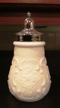 Milk Glass Pepper Shaker with a Bow Pattern #MilkGlass