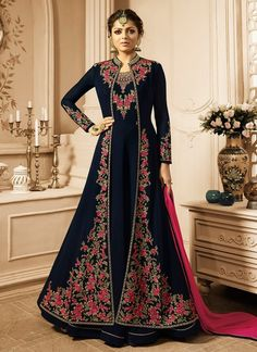 cc62a2112c9 Navy Blue And Pink Jacket Style Embroidered Anarkali Suit