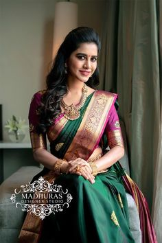 Stunning Nabha Natesh in bottle green color saree and purple color blouse. Blouse with hand embroidery work and jari boarder. Sari with gold jari boarder. Wedding Saree Blouse Designs, Half Saree Designs, Fancy Blouse Designs, Saree For Wedding, Tamil Wedding, Wedding Album, Bridal Sarees South Indian, Bridal Silk Saree, Indian Wedding Sarees