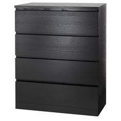 IKEA - MALM, chest, black-brown, Of course your home should be a safe place for the entire family. That's why hardware is included so that you can attach the chest of drawers to the wall. Real wood veneer will make this chest of drawers age gracefully. 4 Drawer Dresser, 6 Drawer Chest, Chest Of Drawers, Ikea Dresser, Drawer Table, Malm Hack, Hack Ikea, Malm Bed Frame, Loft Bed Frame