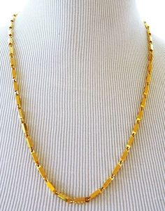 Vintage Square Chain Link Strand String Necklace Gold Tone Retro Costume Jewelry #StrandString