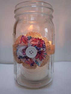 6 Burlap Pink Purple Fabric Mason Jar Candle Centerpiece Wedding Decorations M6 #BurlapBrides