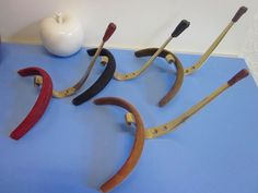4 modernist coat hangers coat hooks leather tips era Auboeck atomic