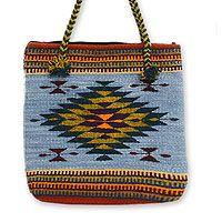 Wool tote bag, 'Zapotec Fantasy'