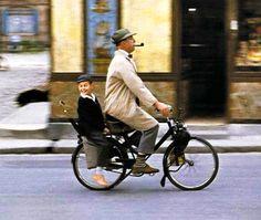 Gérard (Alain Bécourt) and Monsieur Hulot (Jacques Tati)  in Tati's Mon Oncle (1958)